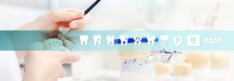 Dental technician hands working, teeth icons and symbols, web ba Stock Images