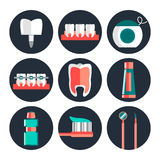 Dental theme flat icons Royalty Free Stock Photos