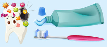Dental theme with tooth decay and equipment. Illustration Stock Photography