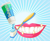 Dental theme with toothbrush and paste Royalty Free Stock Photo