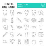 Dental thin line icon set, dentistry symbols collection, vector sketches, logo illustrations, tooth signs linear stock illustration