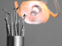Dental tools. With lamp in clinic Royalty Free Stock Photo