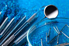 Dental tools and equipment, bright colorful tone concept Stock Photos