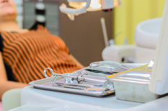 Dental Tools. Set of dental tools on stainless steel tray Stock Photos