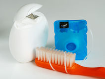 Dental tools toothbrush and floss Royalty Free Stock Images
