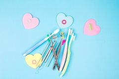 Dental tools and toothbrushes. stock image