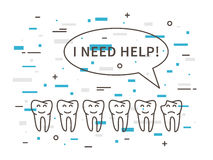 Dental tooth caries linear vector illustration Stock Photography