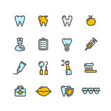 Dental Tooth Doctor Color Icon Set. Vector Royalty Free Stock Photography