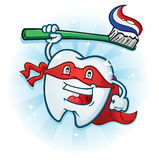 Dental Tooth Super Hero Mascot Cartoon Character with Toothbrush Royalty Free Stock Photos