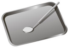 Dental tray with mirror. To inspect the teeth. Vector illustration Stock Image