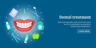 Dental treatment banner horizontal, cartoon style Royalty Free Stock Images