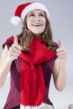 Dental Treatment Concepts. Happy  Smiling Caucasian  Teenager in Santa Hat With Teeth Brackets Royalty Free Stock Images