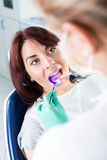 Dental treatment with UV lamp Stock Photo