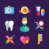 Dental vector icons set clinic logo Royalty Free Stock Image