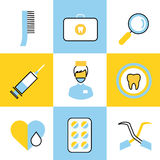 Dental vector icons set clinic logo Royalty Free Stock Photography