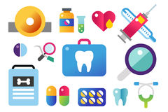 Dental vector icons set clinic logo Royalty Free Stock Images