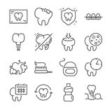 Dental vector line icon set. Included the icons as tooth, Dental floss, mouthwash and more. Line Design Icon Illustration: Dental vector line icon set. Included Stock Photo