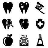Dental web and mobile logo icons collection. On white back. Vector symbols of aching tooth, toothbrush, apple, dental floss and etc Stock Photos