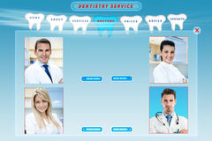 Dental web site. Template with doctors Stock Photos