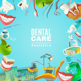 Dentals Care Flat Frame Background poster Royalty Free Stock Photography