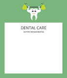 Dente bianco sano e pera verde Strato del blocco note Il consiglio di un medico opuscolo Progettazione piana moderna Immagine Stock Libera da Diritti