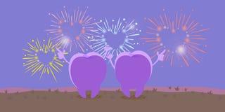 Dente bonito dos desenhos animados que olha o fogo de artifício Imagem de Stock
