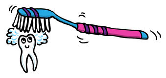 Dente che ottiene spazzolato Fotografia Stock