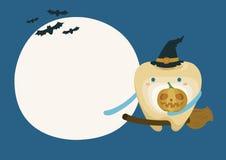 Dente com a abóbora na noite da lua no Dia das Bruxas ilustração royalty free