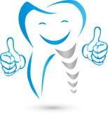 Dente com mãos e sorriso, dentes e logotipo do dentista ilustração stock