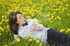 Dente-de-leão de sopro da jovem mulher bonita Fotos de Stock Royalty Free