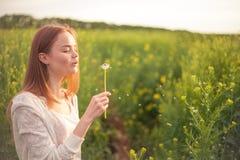 Dente-de-leão de sopro da mulher nova da forma da mola no jardim da mola primavera Menina na moda no por do sol no fundo da paisa Imagem de Stock Royalty Free