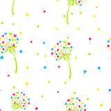 Dente-de-leão estilizado do fundo do vetor sob a forma dos corações A flor simboliza o amor, a amizade e a aceitação Foto de Stock Royalty Free