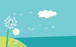 Dente-de-leão no vento Fotografia de Stock Royalty Free