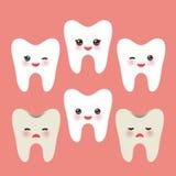 Dente de sorriso com mordentes cor-de-rosa dentes saudáveis sujos do mal e da alegria Para as ilustrações das crianças, o cuidado Foto de Stock Royalty Free