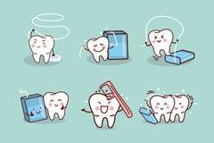 Dente del fumetto con filo per i denti Immagini Stock