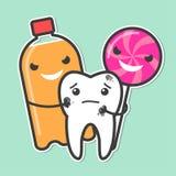 Dente dello spaccone della lecca-lecca e della soda Immagine Stock Libera da Diritti