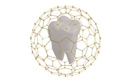 Dente di concetto di protezione del dente coperto di ill della struttura 3D di esagono illustrazione di stock