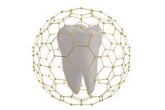 Dente di concetto di protezione del dente coperto di ill della struttura 3D di esagono illustrazione vettoriale