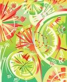 Dente di leone astratto su fondo verde illustrazione di stock