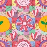 Dente di leone della foglia di amore del fiore intorno al modello senza cuciture di stile quadrato illustrazione di stock