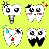 Dente do doente dos desenhos animados do vetor Deteriore e destrua o dente Imagem de Stock