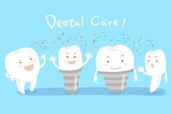 Dente dos desenhos animados com cuidados dentários Foto de Stock
