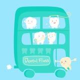 Dente dos desenhos animados com fio dental Imagem de Stock