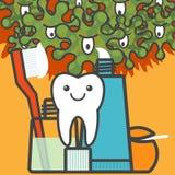 Dente e cose di cure odontoiatriche Fotografia Stock Libera da Diritti