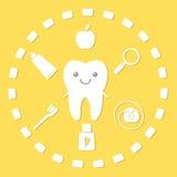 Dente e cose di igiene Fotografia Stock
