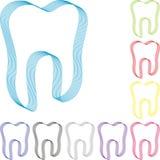 Dente feito das linhas, dos dentes coleção, do dente no azul, do logotipo da odontologia, do dente e do logotipo dos cuidados den ilustração stock