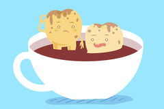 Dente na xícara de café Fotografia de Stock