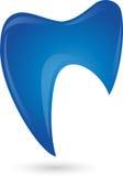Dente no azul, logotipo do dentista ilustração do vetor