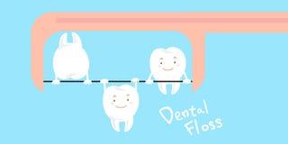 Dente que joga com fio dental Fotografia de Stock Royalty Free