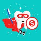 Dente sano felice in un mantello rosso royalty illustrazione gratis